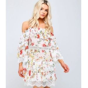 Alice and Olivia floral cold shoulder dress